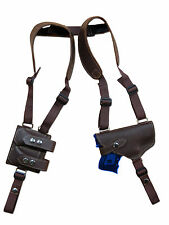 NEW Brown Leather Gun Shoulder Holster w/ Dbl Magazine Pouch for Ruger Compact