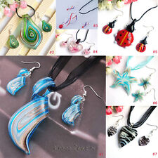 Womens Beautiful Murano Lampwork Glass Pendants Necklace Earrings Sets For Gift