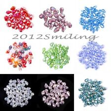 100pcs Crystal Drop Spacer Loose Beads 8x6mm For Jewelry Making DIY AB Color