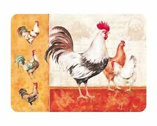 Tuftop Glass Chopping Board Rooster Family Farm Animals Kitchen Worktop Saver