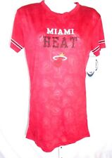 Miami Heat Ladies Short Sleeve Burnout T-Shirt Burgundy