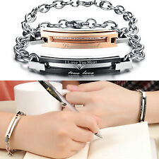 2014 New Stainless Steel Link Chain Couple Bracelet Lovers Promise Wristband