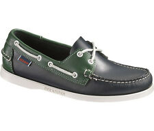 Mens Sebago Docksides Spinnaker Shoe Navy Green 72826 Wide Width