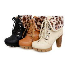 Womens Ladies High Heels Casual Lace Up Shoes Ankle Boots US ALL Size YB1053