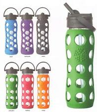 Lifefactory BPA Free 22oz Glass Water Bottle Silicone Grip w Straw Fitness Yoga