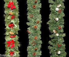 6 FOOT LONG LUXURY DECORATED CHRISTMAS XMAS FESTIVE WREATH GARLAND DECORATION BN