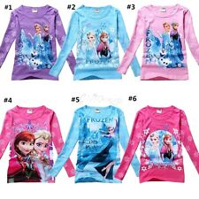 Girls Frozen Elsa&Anna Olaf Snowman Kids Top Blouse T-Shirts Clothes 3-8Y Shirts