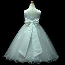 USM1D59B White*Floor Length* Wedding Young Bridesmaid Girls Dress 1 to 13Yrs