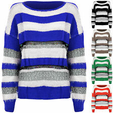 Femmes Tricot Manches Longues Chaud Hiver Avant Pull Rayure Femme ' S Pull 8-14