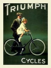 Triumph Cycles Bicycle Bike Father Young Girl Vintage Poster Repro FREE S/H