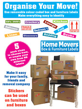 Moving Home Boxes - Cardboard Box & Furniture - Colour Code Stickers - Removable