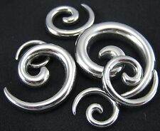 1 PAIR SPIRAL SURGICAL STAINLESS STEEL TAPER STRETCHERS PLUGS EAR LOBE GAUGES