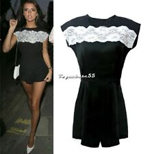 New Womens Sexy Style short Sleeve lace Playsuit Jumpsuit Rompers shorts Dress