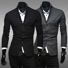 Mens Unique Stand Collar Fashion Stylish Single Breasted Suits Slim Fit Hot New