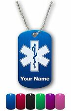 Personalized Military ID Dog Tag with Chain - STAR OF LIFE, MEDIC, DOCTOR, EMT