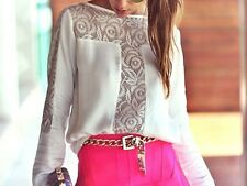 Fashion Sexy Women White Casual Lace Shirts Chiffon Blouses Tee Shirt Tops