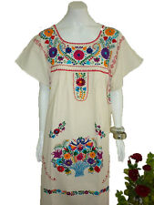 Manta 100% Cotton Hippie Boho Tunic Embroidered Mexican Dress Vintage Style