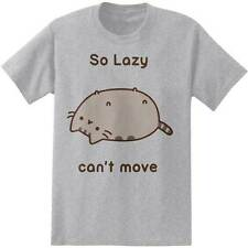 Pusheen So Lazy Can't Move Cartoon Cute Cat NWT Adult Men's T-shirt - Grey