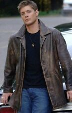 Supernatural,Dean Winchester,Brown,Rub Buff distressed,Cowhide,Leather Jacket