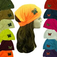 Wide Soft Head Wraps Jersey Cotton Women Hair Headband with Butterfly Accent