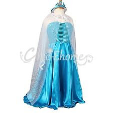 Halloween Girls Kid Frozen Elsa Anna Gown Costume Cosplay Fancy Dress+Cape+Crown