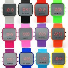 Classical Unisex Mirror Face LED Date Sport Digital Wrist Watch W/ Rubber Strap
