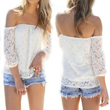 New Womens Sexy Lace Off-shoulder Long Sleeve Loose Tops Casual T-Shirt Blouse