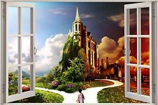 Huge 3D Window Enchanted Castle in Forest View Wall Stickers Decal Wall Mural