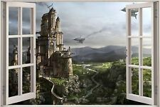 Huge 3D Window Fantasy City Castle View Wall Stickers Film Decal Wallpaper Mural