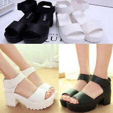 New Womens Peep-toe Summer Block Creeper Sandals Wedges High Platform Shoes A288
