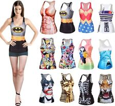 Fun Sexy Women 3D Graphic Print Blouses Gothic Top Vest Tank Party Club BH BX01