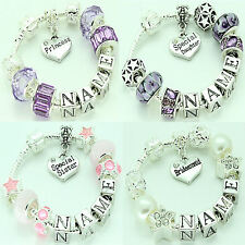 Personalised Charm Bracelet Girls Childrens Bead 4 Designs Any Name Present Gift