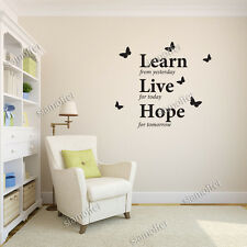 Learn from Yesterday - Learn Live Hope - Art Wall Quotes Stickers / Wall Decals