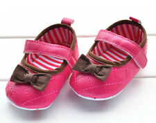 New Infant Toddler Baby Girls Soft Sole Bow Mary Jane Shoes 0-18Month Size 2,3,4