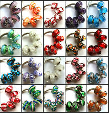 100pcs Wholesale Lampwork Murano Glass Beads Fit European Charm Bracelet NO.06