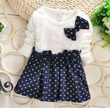 nwt baby toddler kid girl long shirt tops coat cotton bow dots dress size 1-4y