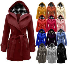 NEW WOMENS BELTED BUTTON HOODED JACKET LADIES COAT PLUS SIZES 8-20