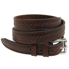 "Made in USA Orion Leather 1 1/8"" Rich Brown Bridle Leather Belt Embossed Men's"