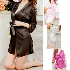 Sexy SILK & LACE Kimono Dressing Gown Bath Robe Babydoll Lingerie+G-string