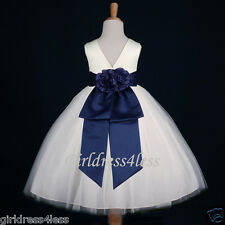 IVORY/NAVY BLUE JR. BRIDESMAID PARTY FLOWER GIRL DRESS 12-18M 2/2T 4 6 8 10 12