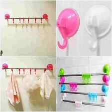 1x Bathroom Kitchen Toilet Wall Hook Suction Cups Hanger Towel Rack With 6 Hooks