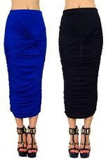 Knotted Draped and Twisted Stretchable Long Midi Pencil 11159 Maxi Skirt