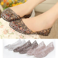 Womens Summer Flat Shoes Galoshes Hollow Out Bird's Nest Sandal Pink Silver