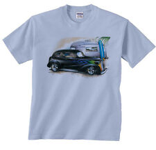 Chevy and Airstream Camper On Beach Shirt