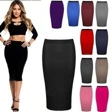 Womens Plain Jersey Pencil Wiggle Bodycon High Waisted Midi Skirt 4 - 20 *LngWgl