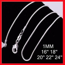 "Promotion!! 925 Silver Filled 1MM Chain Necklace For Pendants 16""18"" 20"" 22"" 24"""