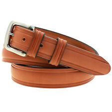 "Made In USA Mens 1 1/4"" Domed Belt London Tan Bridle Leather Double Loops"