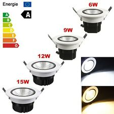 Dimmable 6W 9W 12W 15W COB LED Downlight Kit Fixture Ceiling Recessed Light Bulb