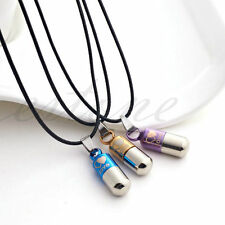 Unisex Stainless Steel Love Black Pill Capsule Tablet Medic Pendant Necklace