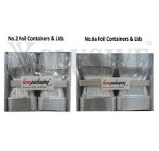 100 ALUMINIUM FOIL FOOD CONTAINERS & LIDS CATERING SILVER No. 2 & No. 6a PORTION